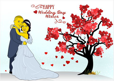 GIFTS FOR WEDDING 2 in 1 - Couple Half Body Personalized Avatar