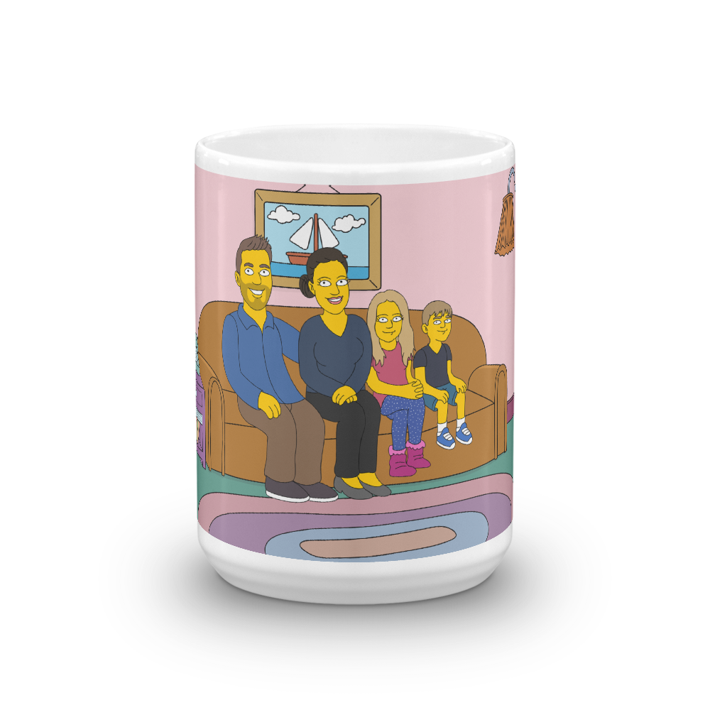 Mug  Family on couch (Max. 4 members) - Personalized Avatar
