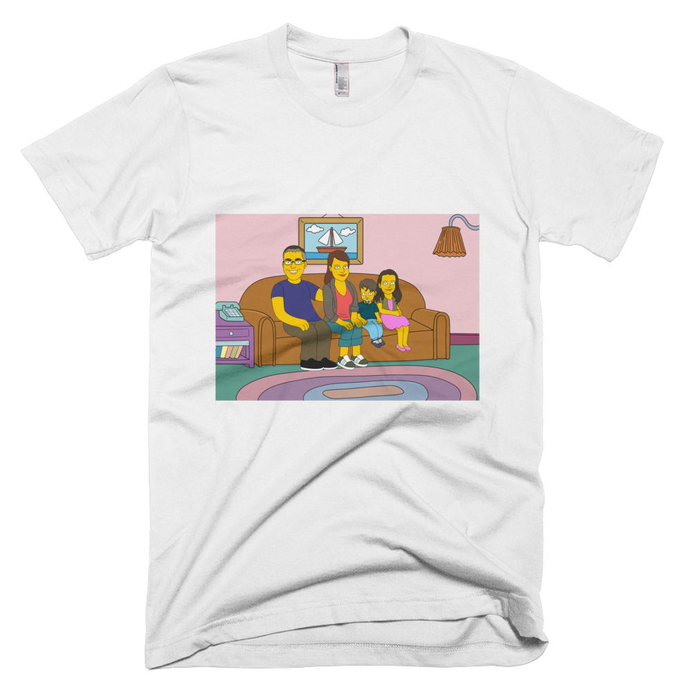 T-Shirt  Family on couch (Max. 4 members) - Personalized Avatar